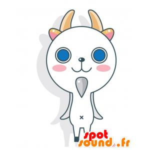 Valkoinen kissa maskotti sarvet. maskotti vuohi