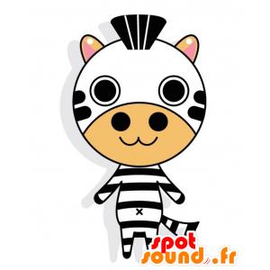 Maskotti mustavalkoinen Zebra isolla pyöreä pää