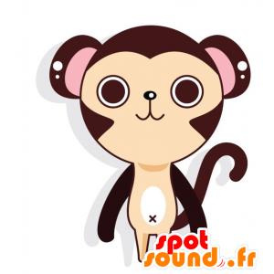 Maskotti iso ruskea ja beige apina, jättiläinen ja hauskaa