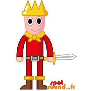 Kuningas maskotti pukeutunut punainen ja keltainen, kruunu