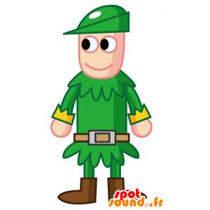 Maskotti Robin Hood, pukeutunut vihreään