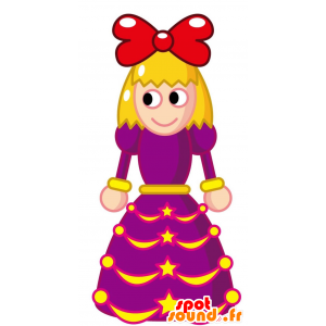 Vaalea tyttö lila mekko Mascot