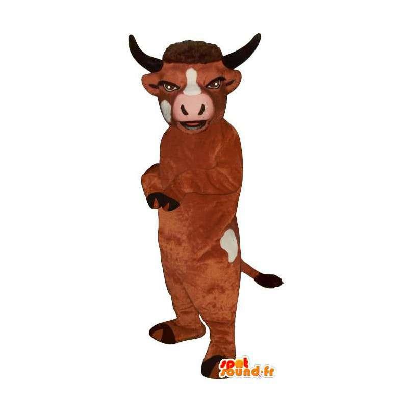 Mascotte de vache marron et blanche. Costume de taureau - MASFR007299 - Mascottes Vache