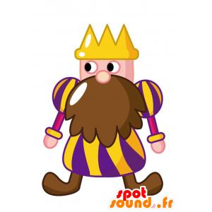 Kuningas maskotti isolla parta ja kruunu