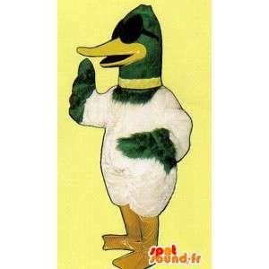 Mascotte de canard vert et blanc