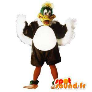 Mascot pato grande marrom, verde e branco