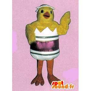 Geel kuiken mascotte in een schelp. Pasen Costume - MASFR007307 - Mascot Hens - Hanen - Kippen