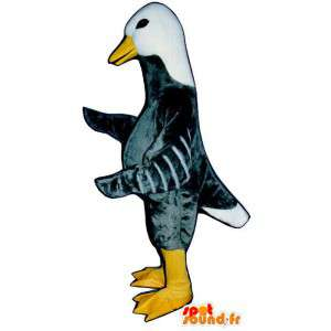 Mascote cinza e ganso branco