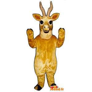 Geel herten mascotte. Reindeer Suit