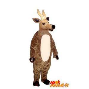 Brązowy jelenie maskotka. jelenia kostium