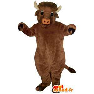 Mascotte de buffle marron. Costume de buffle