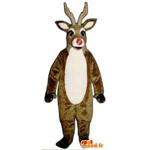Mascot marrón y blanco del reno con la nariz roja
