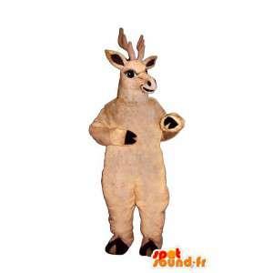 Beżowy maskotka jelenie. renifer kostium