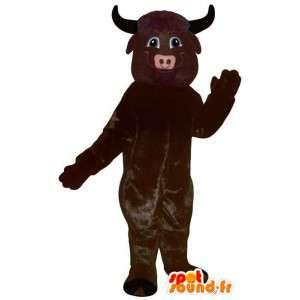 Mørk brun bøffel maskot