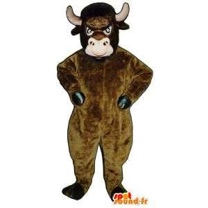 Mascotte de taureau marron. Costume de taureau