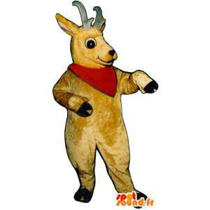 Yellow mascot goat. Costume goat