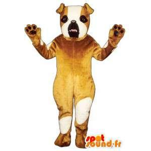 Brązowy i biały pies maskotka - MASFR007351 - dog Maskotki