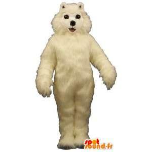 Hvit hund maskot, alle hårete - MASFR007353 - Dog Maskoter