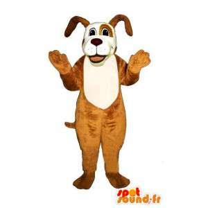 Brun och vit hundmaskot - Spotsound maskot