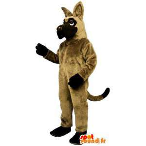 Beige hundmaskot med svarta ändar - Spotsound maskot
