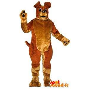 Ruskea ja keltainen koira maskotti - MASFR007357 - koira Maskotteja