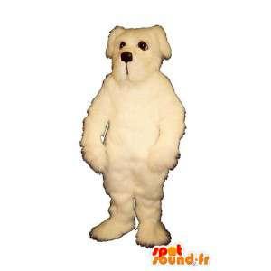Weißer Hund Maskottchen alle haarigen - MASFR007362 - Hund-Maskottchen