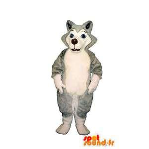 Husky hond mascotte, grijs en wit - MASFR007363 - Dog Mascottes