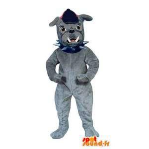 Grå bulldoggmaskot. Bulldog kostym - Spotsound maskot