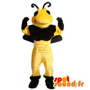 Maskotti jättiläinen mehiläinen. pehmo mehiläinen puku