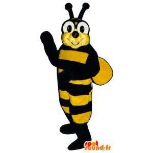 Mascotte d'abeille jaune et noire. Costume de guêpe