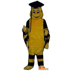 Mascot yellow and black caterpillar. Suit for graduate - MASFR007380 - Mascots insect