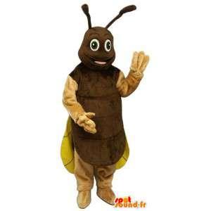 Grillo Mascot, marrón y amarillo de la luciérnaga