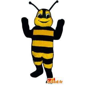 Mascot abelha preta e amarela gigante