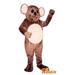 Mascotte de koala marron et blanc