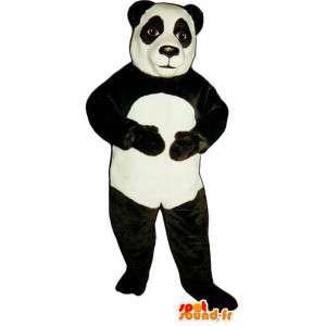 Mascotte de panda noir et blanc. Costume de panda