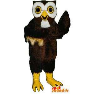 Brązowy i biały sowa maskotka - MASFR007450 - ptaki Mascot