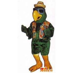 Mascotte de perroquet vert habillé en vacancier