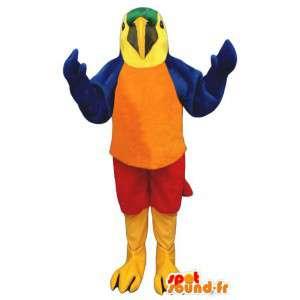 Mascotte de perroquet coloré. Costume de perroquet