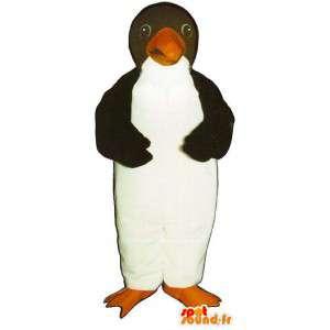 Mascot pingüino blanco y negro