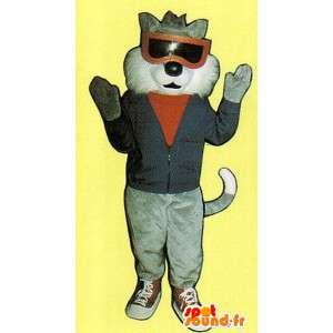 Grijze en witte kat mascotte gekleed - MASFR007519 - Cat Mascottes
