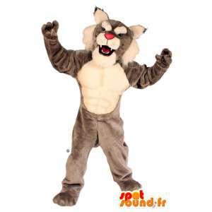 Šedé a bílé tiger maskot