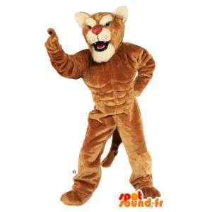 Brown mascota de tigre muy musculoso