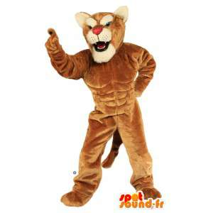 Brown tiger mascot very muscular
