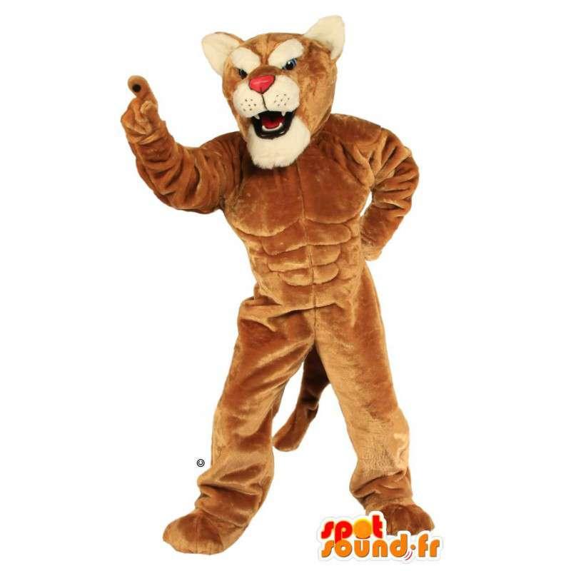 Maskot velmi svalnatý hnědý tygr - MASFR007528 - Tiger Maskoti