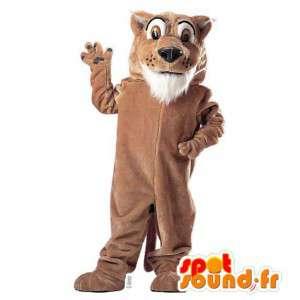 茶色と白の虎のマスコット。茶色の虎の衣装
