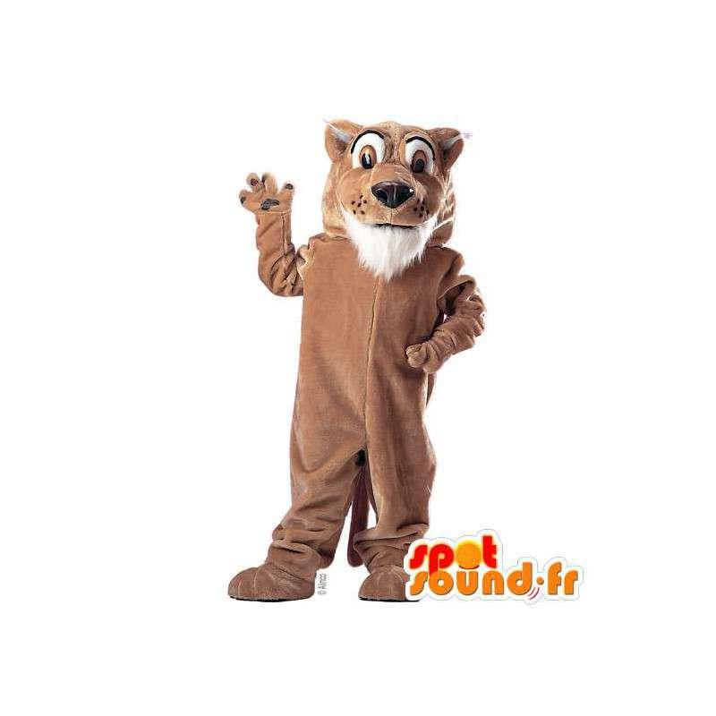 Mascotte de tigre marron et blanc. Costume de tigre marron - MASFR007534 - Mascottes Tigre
