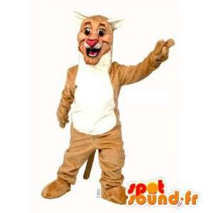 Anzug aus braunem und weißen Tiger - MASFR007543 - Tiger Maskottchen