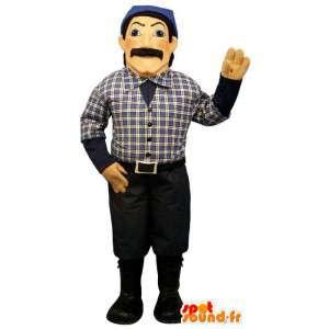 Maskottchen-Mann in blau und schwarz gekleidet - MASFR007555 - Menschliche Maskottchen