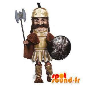 Średniowieczny rycerz maskotka. tradycyjny strój