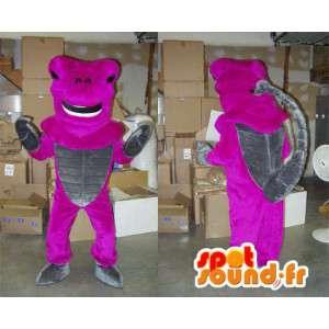 Mascotte de scorpion rose fluo et gris